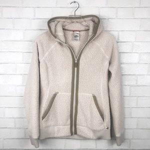 The North Face Tops - North Face furry fuzzy cream bomber hoodie size M